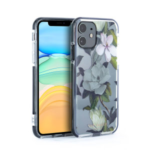 Form-fitting and bulk-free, the Opal Clip case for iPhone 11 from Ted Baker in clear sports an ethereal, otherworldly floral aesthetic while also offering superlative anti-shock protection for your device from drops, scrapes and other damage.