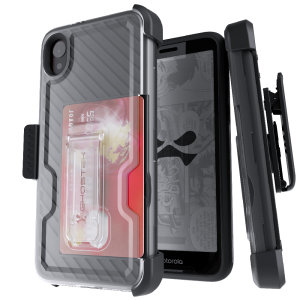 The Motorola Moto E6 Iron Armor 3 case in Black from Ghostek provides your Motorola Moto E6 with fantastic all-around protection. Includes a card slot for added convenience.