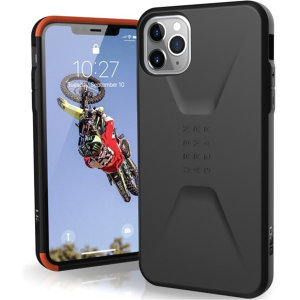The UAG Civilian Case in Black for the iPhone 11 Pro Max features a classic tough-looking, composite design with a soft impact-absorbing core & hard exterior that provides superb protection in all situations. Compatible with Apple pay & wireless charging.