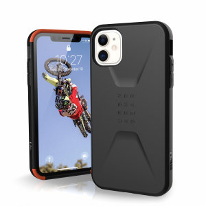 The UAG Civilian Case in Black for the iPhone 11 features a classic tough-looking, composite design with a soft impact-absorbing core & hard exterior that provides superb protection in all situations. Compatible with Apple pay & wireless charging.