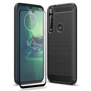 Flexible rugged casing with a premium matte finish non-slip carbon fibre and brushed metal design, the Olixar Sentinel case in black keeps your Motorola Moto G8 Plus protected from 360 degrees with the added bonus of a tempered glass screen protector.