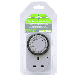 Fallen asleep whilst watching TV? Want your house to be warm when you come from a cold day out? Want your Christmas lights on a timer? With the Pifco 7 day timer plug you can set the time to when you want your device to be on & off whilst saving energy.