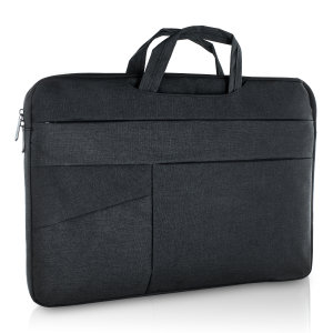 "The Olixar universal black laptop bag is perfect for holding your Macbook Pro 16"". The bag is slim, water resistant and durable with comfortable carry handles and multiple zip pockets for valuables. The bag also features handles for convenience."