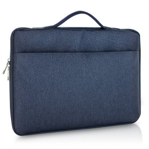 "The Olixar universal navy blue laptop bag is perfect for holding your Macbook Pro 16"". The bag is slim, water resistant and durable with comfortable carry handles and multiple zip pockets for valuables. The bag also features handles for convenience."