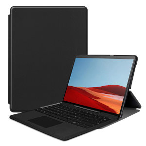 Protect your Microsoft Surface Pro X with this durable and stylish brown leather-style wallet case by Olixar. What's more, this case transforms into a handy stand to view media.