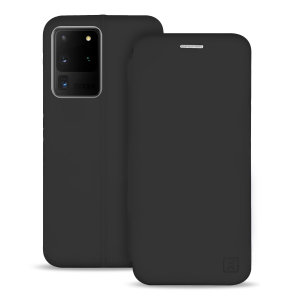 Custom moulded for the Samsung Galaxy S20 Ultra, this black soft silicone flip case from Olixar provides excellent protection against damage as well as a slimline fit. Additionally, this case transforms into a stand to view media and includes a card slot.