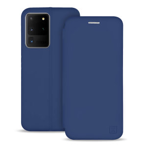 Olixar Soft Silicone Samsung Galaxy S20 Ultra Wallet Case - Navy Blue