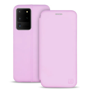 Custom moulded for the Samsung S20 Ultra, this pastel pink soft silicone flip case from Olixar provides excellent protection against damage as well as a slimline fit. Additionally, this case transforms into a stand to view media and includes a card slot.