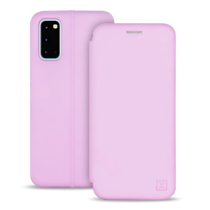 Custom moulded for the Samsung Galaxy S20, this pastel pink soft silicone flip case from Olixar provides excellent protection against damage as well as a slimline fit. Additionally, this case transforms into a stand to view media and includes a card slot