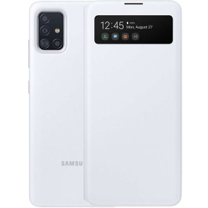 This Official Samsung S-View Flip Cover in White is the perfect way to keep your Galaxy A51 smartphone protected whilst keeping yourself updated with your notifications thanks to the clear view front cover.