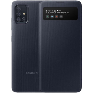 This Official Samsung S-View Flip Cover in Black is the perfect way to keep your Galaxy A51 smartphone protected whilst keeping yourself updated with your notifications thanks to the clear view front cover.
