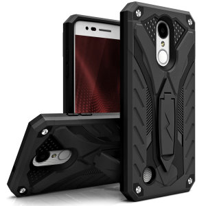 Equip your LG K8 2017 with military grade protection and superb functionality with the ultra-rugged, dual layered hybrid Static case in Black from Zizo. Coming complete with a handy kickstand for viewing media in both portrait and landscape.