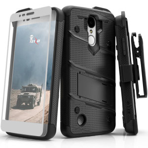 Equip your LG Risio 3 with military grade protection and superb functionality with the ultra-rugged Bolt case in black from Zizo. Coming complete with a handy belt clip, integrated kickstand, and screen protector.