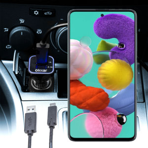 Keep your Samsung Galaxy A51 fully charged on the road with this compatible Olixar high power dual USB 3.1A Car Charger with an included high quality  1m USB to USB-C charging cable.
