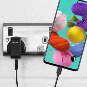 Charge your Samsung Galaxy A51 and any other USB device quickly and conveniently with this compatible 2.5A high power USB-C UK charging kit. Featuring a UK wall adapter and a 1m USB-C cable.