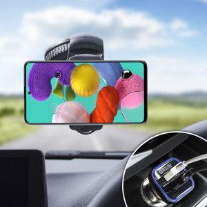 Keskeisiä kohteita tarvitset älypuhelimen aikana automatka kaikki sisällä Olixar Drivetime In-Car Pack. Siinä on vankkarakenteinen yhden käden puhelimen autoteline ja autolaturi ylimääräinen USB-portti Samsung Galaxy A51.