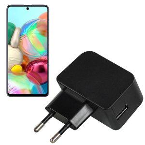 Laden Sie Ihr Samsung Galaxy A71 und andere USB-Gerät schnell und bequem mit diesem kompatibel 2.5A High Power USB-C UK Lade-Kit. Mit einem EU-Wandadapter und ein 1m USB-C-Kabel.