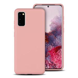 Olixarin Pastel Pink -pehmeä silikonikotelo, joka on valaistu Samsung Galaxy S20 : lle, tarjoaa erinomaisen suojan vaurioita vastaan ja ohut istuvuuden mukavuuden lisäämiseksi.