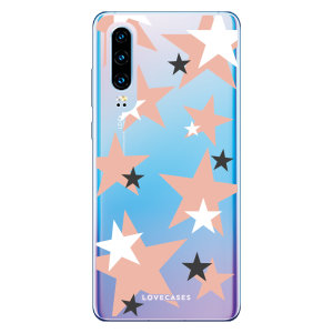 LoveCases Huawei P30 Pink Star Clear Phone Case