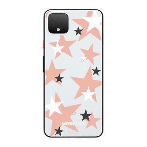 LoveCases Google Pixel 4 XL Pink Star Clear Phone Case