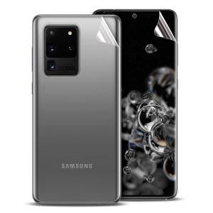 Hold din Samsung Galaxy S20 Ultra i uberørt tilstand overalt med denne Olixar ridsebestandige filmbeskyttelsesfilm 2-i-1-pakning. Har 2 sammenlåsende skærmbeskyttere, der fuldstændigt dækker ryggen og fronten af din telefon.
