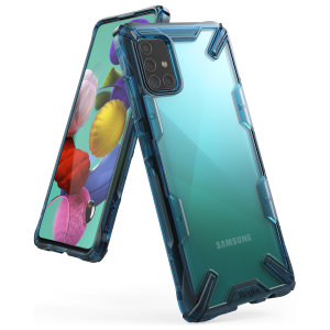 Keep your Samsung Galaxy A51 protected from bumps and drops with the Rearth Ringke Fusion X tough case in Blue. Featuring a 2-part, Polycarbonate design, this case lives up to military drop-test standards so you can rest assured that your device is safe.