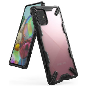 Keep your Samsung Galaxy A71 protected from bumps and drops with the Rearth Ringke Fusion X tough case in Black. Featuring a 2-part, Polycarbonate design, this case lives up to military drop-test standards so you can rest assured that your device is safe.