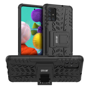 Protect your Samsung Galaxy A51 from bumps and scrapes with this black ArmourDillo case from Olixar. Comprised of an inner TPU case and an outer impact-resistant exoskeleton, with a built-in viewing stand.