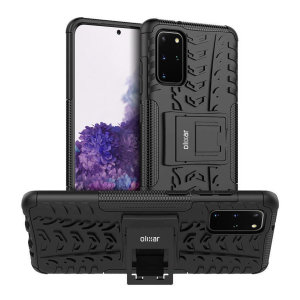 Protect your Samsung Galaxy S20 Plus from bumps and scrapes with this black ArmourDillo case from Olixar. Comprised of an inner TPU case and an outer impact-resistant exoskeleton, with a built-in viewing stand.