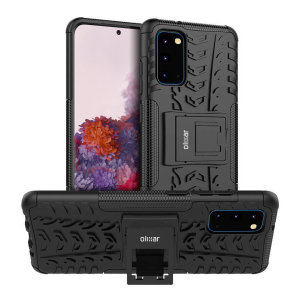 Protect your Samsung Galaxy S20 from bumps and scrapes with this black ArmourDillo case from Olixar. Provides drop protection with an inner TPU case, an outer impact-resistant exoskeleton, and a multi-angle kick stand to enjoy all your favourite media.