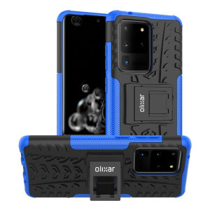 Protect your Samsung Galaxy S20 Ultra from bumps and scrapes with this blue ArmourDillo case from Olixar. Comprised of an inner TPU case and an outer impact-resistant exoskeleton, with a built-in viewing stand.