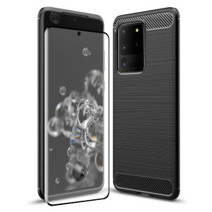 Flexible rugged casing with a premium matte finish non-slip carbon fibre and brushed metal design, the Olixar Sentinel case in black keeps your Samsung Galaxy S20 Ultra protected from 360 degrees with the added bonus of a tempered glass screen protector.