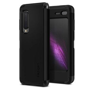 The Slim Armor case for the Samsung Galaxy Fold in Black has shock absorbing technology specifically incorporated to protect the device from impacts from any angle.