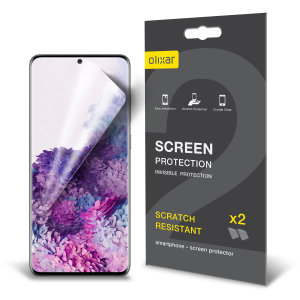 Keep your Samsung Galaxy S20 Plus screen in pristine condition with this Olixar scratch-resistant film screen protector 2-in-1 pack.