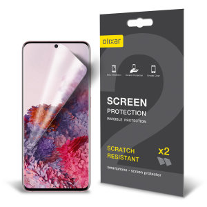 Keep your Samsung Galaxy S20 screen in pristine condition with this Olixar scratch-resistant film screen protector 2-in-1 pack.