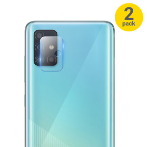 This 2 pack of ultra-thin tempered glass rear camera protectors for the Samsung Galaxy A51 from Olixar offers toughness and superb clarity for your photography all in one package.