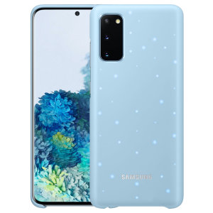 Protect your Samsung Galaxy S20 from harm with the intuitive LED offical case from Official Samsung in sky blue. This LED smart case allows you to receive notifications, set mood lights, have icon features & connect with friends all through the LED lights