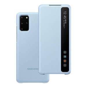 This Official Samsung Clear View Cover in sky blue is the perfect way to keep your Samsung Galaxy S20 Plus smartphone protected whilst keeping yourself updated with your notifications thanks to the clear view front cover.