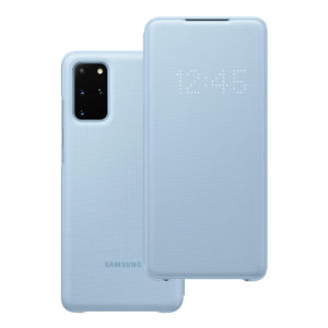 Protect your New Samsung Galaxy S20 Plus screen from harm and keep up to date with your notifications through the intuitive LED display with the official sky blue LED cover from Samsung.
