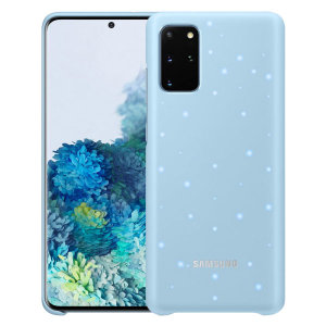 Protect your New Samsung Galaxy S20 Plus from harm with the intuitive LED offical case from Samsung in sky blue. This LED smart case allows you to receive notifications, set mood lights, have icon features & connect with friends all through the LED lights