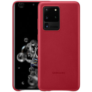 This Official Samsung Leather Cover in red is the perfect way to keep your Galaxy S20 Ultra smartphone protected in style, made out of genuine leather.