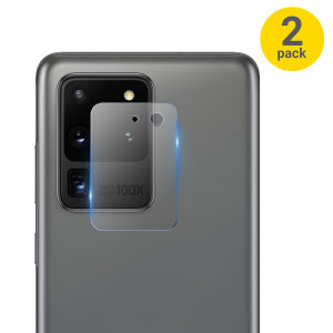 This 2 pack of ultra-thin tempered glass rear camera protectors for the Samsung Galaxy S20 Ultra from Olixar offers toughness and superb clarity for your photography all in one package.