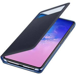 This Official Samsung S-View Flip Cover in Black is the perfect way to keep your Galaxy S10 Lite smartphone protected whilst keeping yourself updated with your notifications thanks to the clear view front cover.