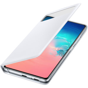 This Official Samsung S-View Flip Cover in white is the perfect way to keep your Galaxy S10 Lite smartphone protected whilst keeping yourself updated with your notifications thanks to the clear view front cover.