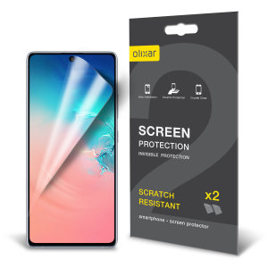 Keep your Samsung Galaxy S10 Lite's screen in pristine condition with this Olixar scratch-resistant screen protector 2-in-1 pack.