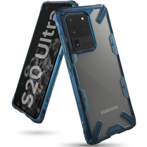 Keep your Samsung Galaxy S20 Ultra protected from bumps and drops with the Rearth Ringke Fusion X tough case in Space Blue. Featuring a 2-part, Polycarbonate design, this case lives up to military drop-test standards.