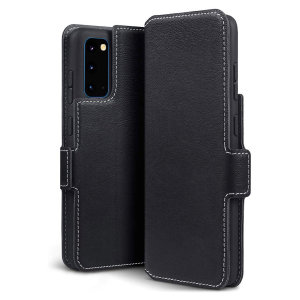 The genuine leather wallet case from Olixar offers perfect protection for your Samsung Galaxy S20. Featuring premium stitch finishing, as well as featuring slots for your cards, cash and documents.