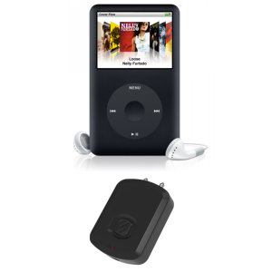 The Flytunes Bluetooth Transmitter by Scosche in black transmits a Bluetooth signal to your Apple iPad Classic controller allowing you to receive audio from your iPod Classic to your headset, ensuring you're connected 24/7.