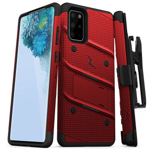 Equip your Samsung Galaxy S20 with military-grade protection and superb functionality with the ultra-rugged Bolt case in red from Zizo. Coming complete with a handy belt clip and integrated kickstand.