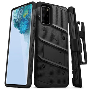 Equip your Samsung Galaxy S20 Plus with military-grade protection and superb functionality with the ultra-rugged Bolt case in black from Zizo. Coming complete with a handy belt clip and integrated kickstand.